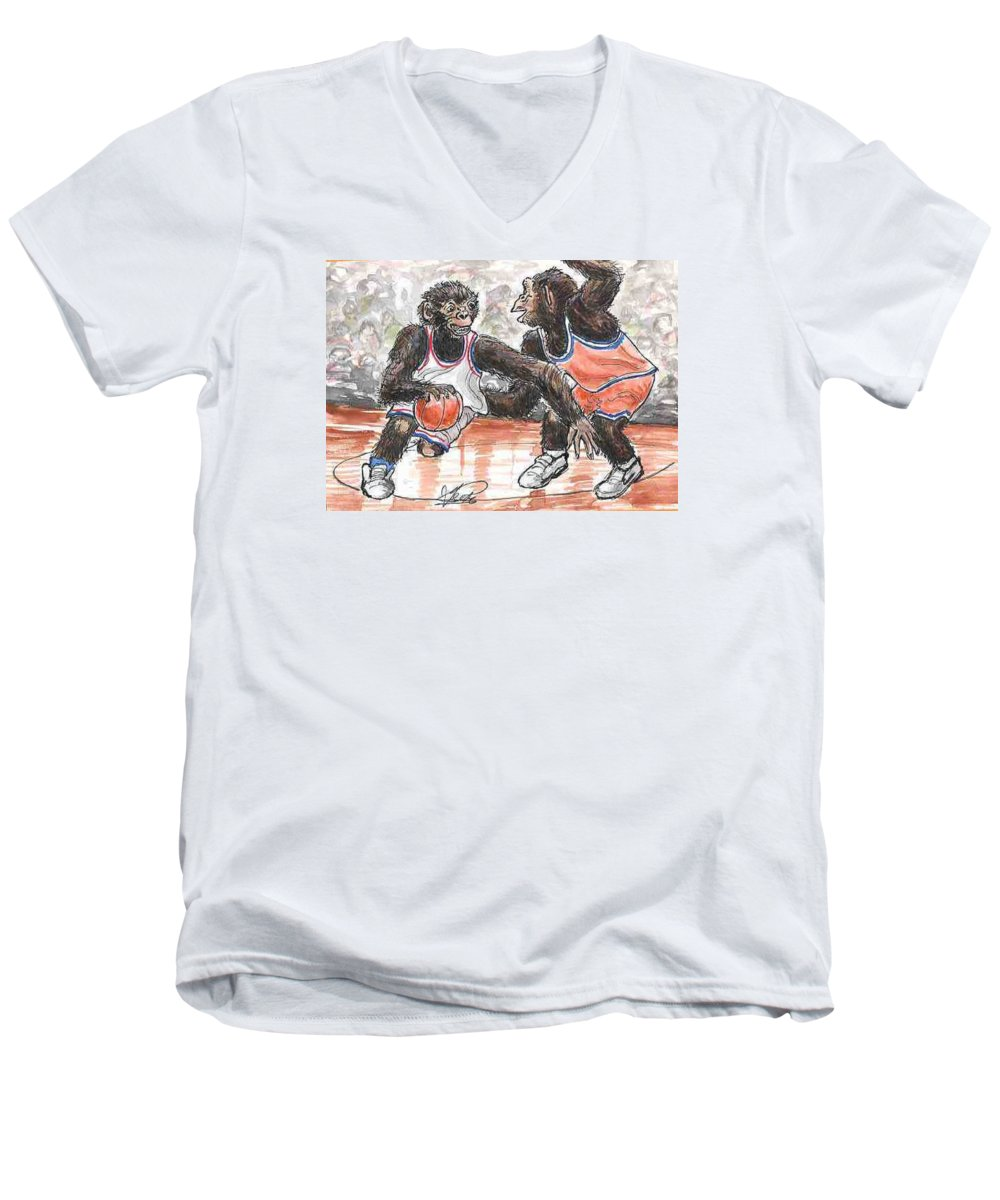 Basketball Men's V-Neck T-Shirt featuring the painting Out Of My Way by George I Perez