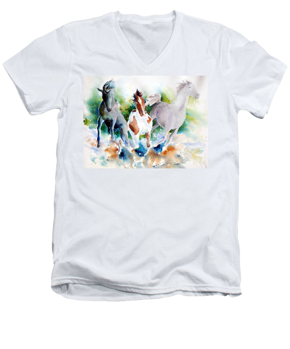 Horses Men's V-Neck T-Shirt featuring the painting Out Of Nowhere by Christie Michelsen