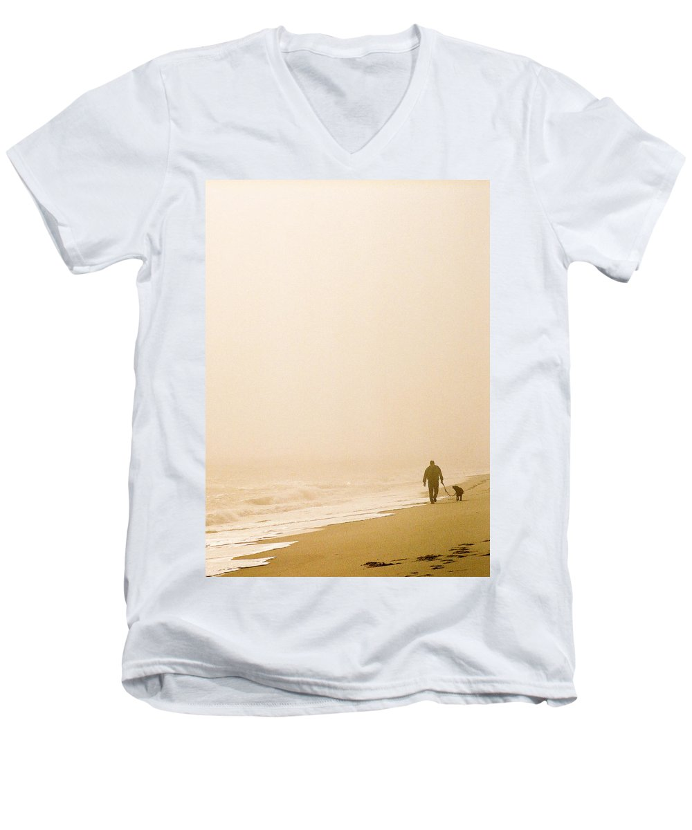 Landscape Men's V-Neck T-Shirt featuring the photograph Out Of The Mist by Steve Karol