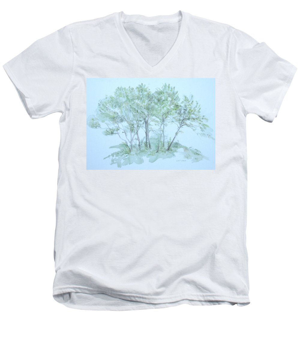 Trees Men's V-Neck T-Shirt featuring the painting Outer Banks by Leah Tomaino
