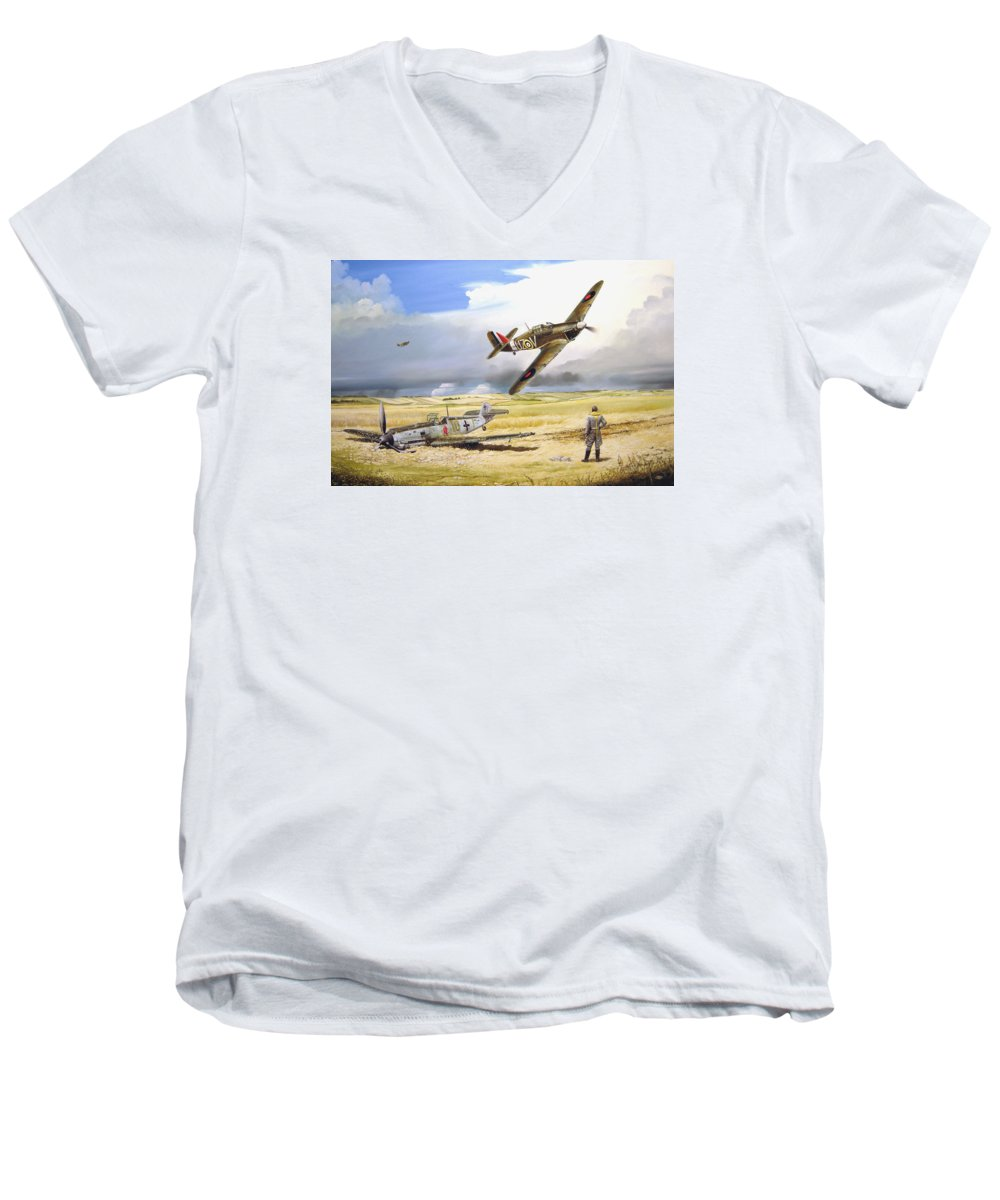 Painting Men's V-Neck T-Shirt featuring the painting Outgunned by Marc Stewart