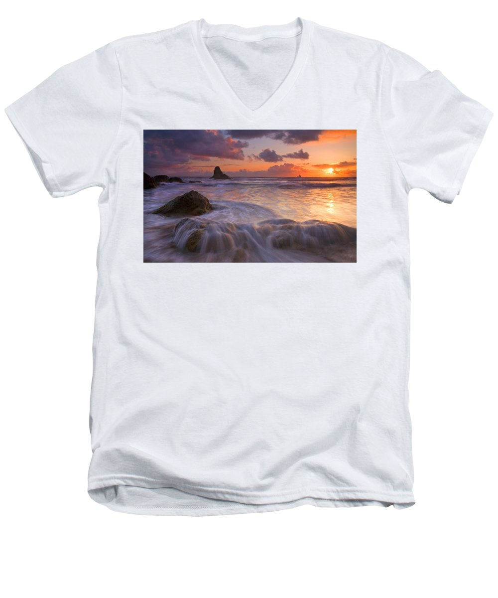Sunset Men's V-Neck T-Shirt featuring the photograph Overcome by Mike Dawson