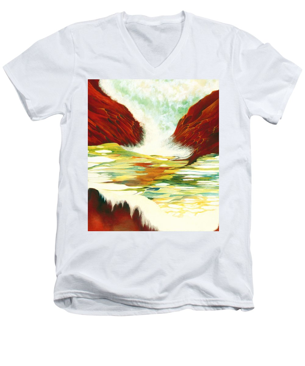 Oil Men's V-Neck T-Shirt featuring the painting Overflowing by Peggy Guichu