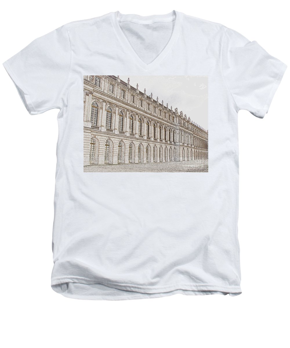 France Men's V-Neck T-Shirt featuring the photograph Palace Of Versailles by Amanda Barcon