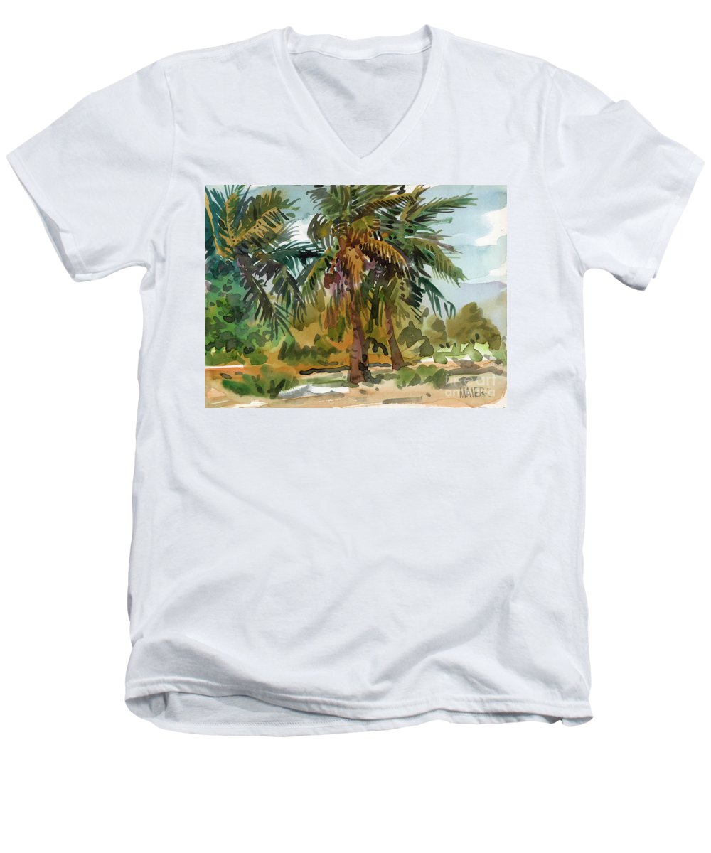 Palm Tree Men's V-Neck T-Shirt featuring the painting Palms In Key West by Donald Maier