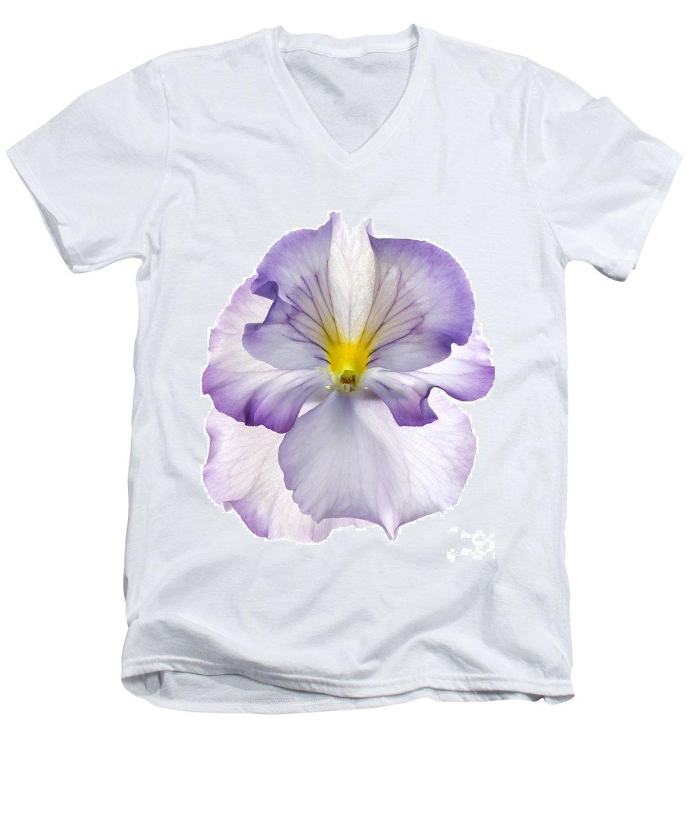Pansy Genus Viola Men's V-Neck T-Shirt featuring the photograph Pansy by Tony Cordoza