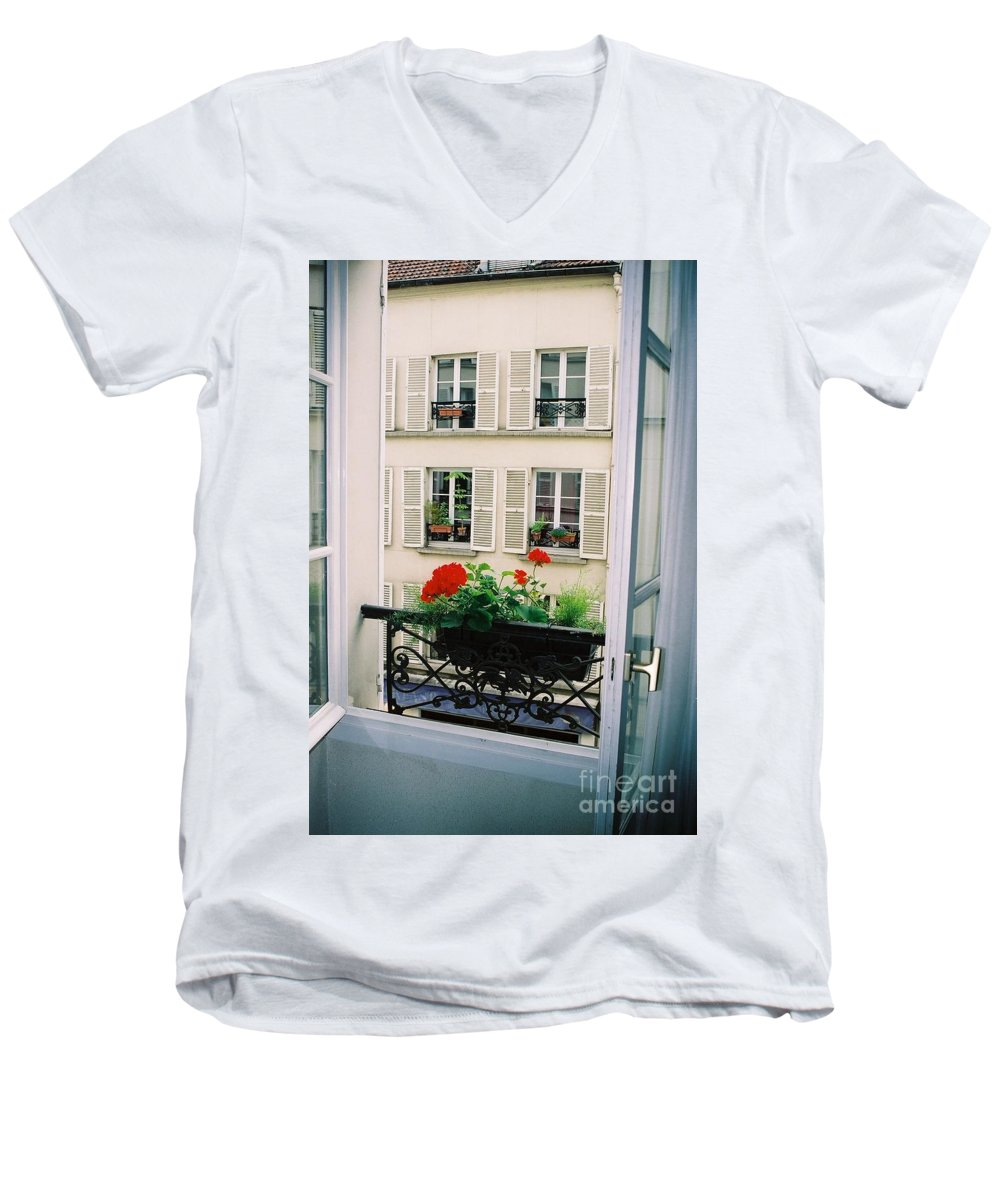 Window Men's V-Neck T-Shirt featuring the photograph Paris Day Windowbox by Nadine Rippelmeyer