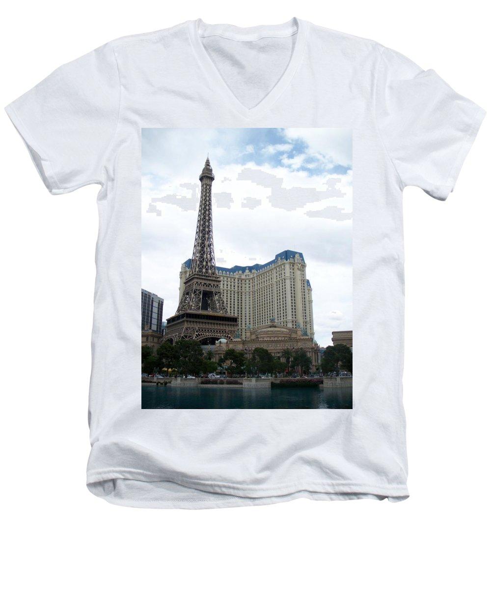 Bellagio Men's V-Neck T-Shirt featuring the photograph Paris Hotel by Anita Burgermeister