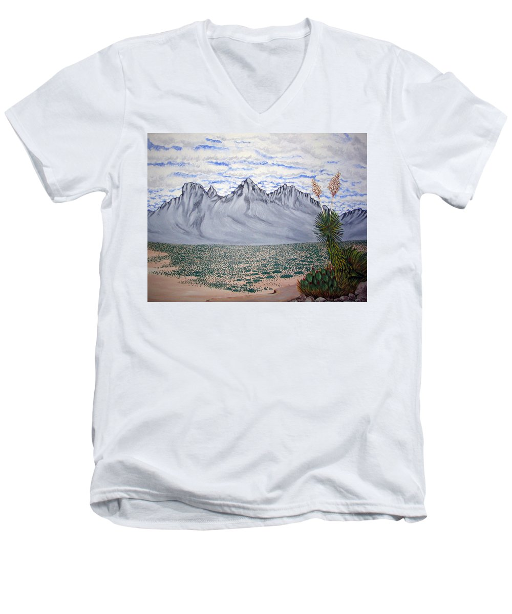 Desertscape Men's V-Neck T-Shirt featuring the painting Pass Of The North by Marco Morales