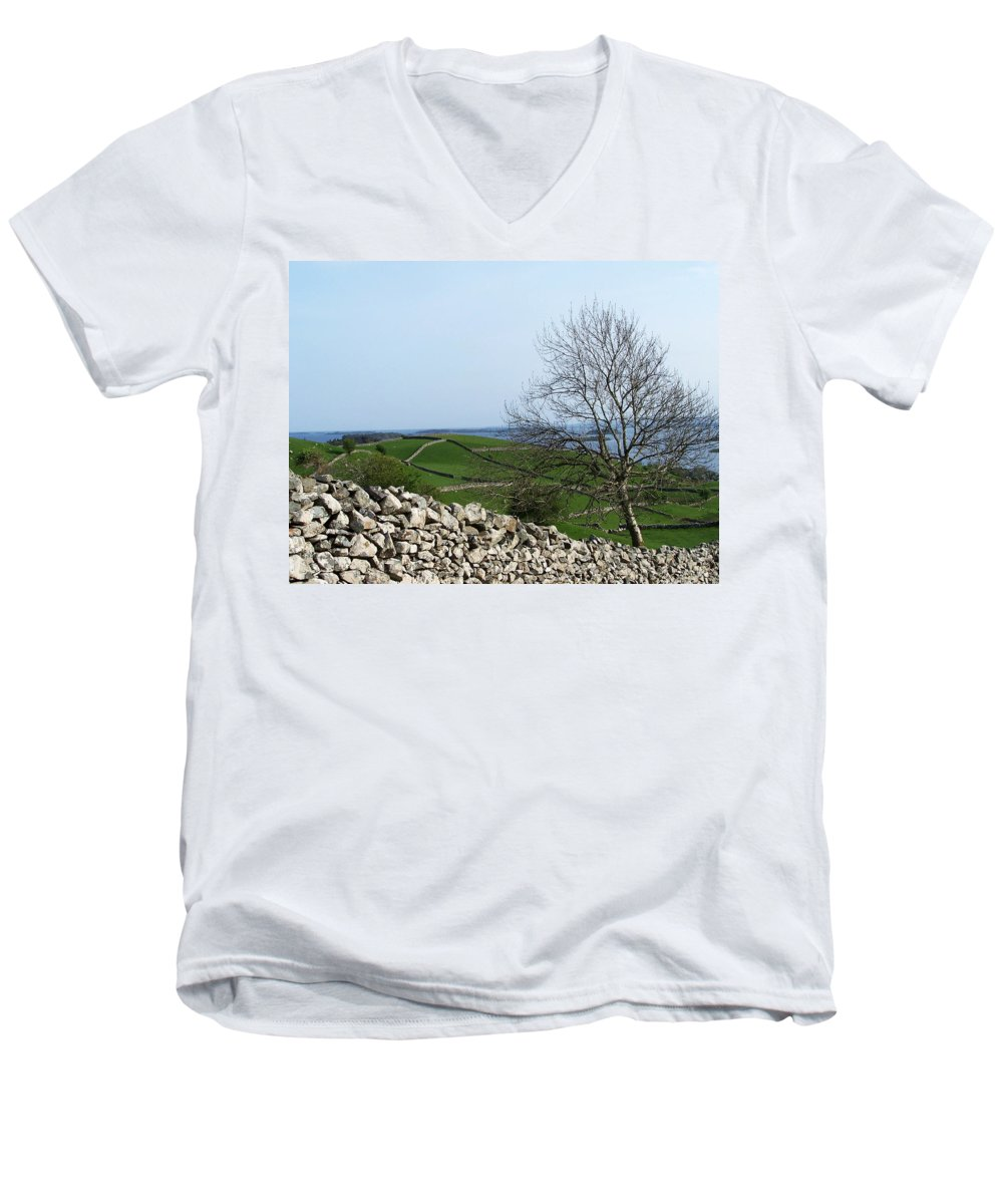 Irish Men's V-Neck T-Shirt featuring the photograph Patchwork Quilt Lough Corrib Maam Ireland by Teresa Mucha