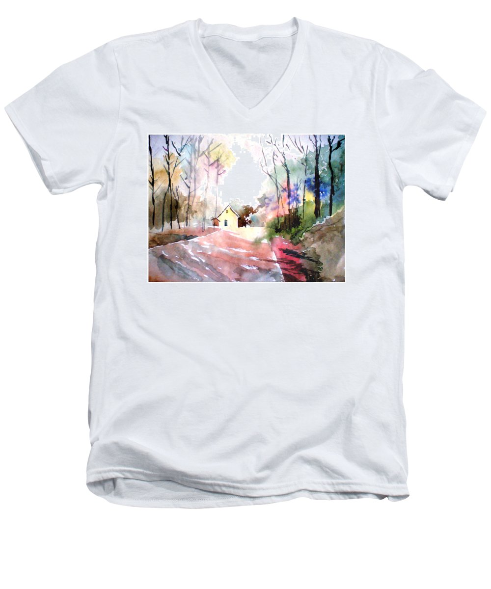 Nature Men's V-Neck T-Shirt featuring the painting Path In Colors by Anil Nene