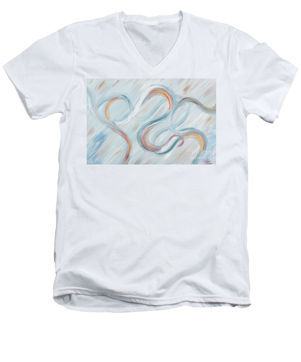Peace Men's V-Neck T-Shirt featuring the painting Peace by Nadine Rippelmeyer