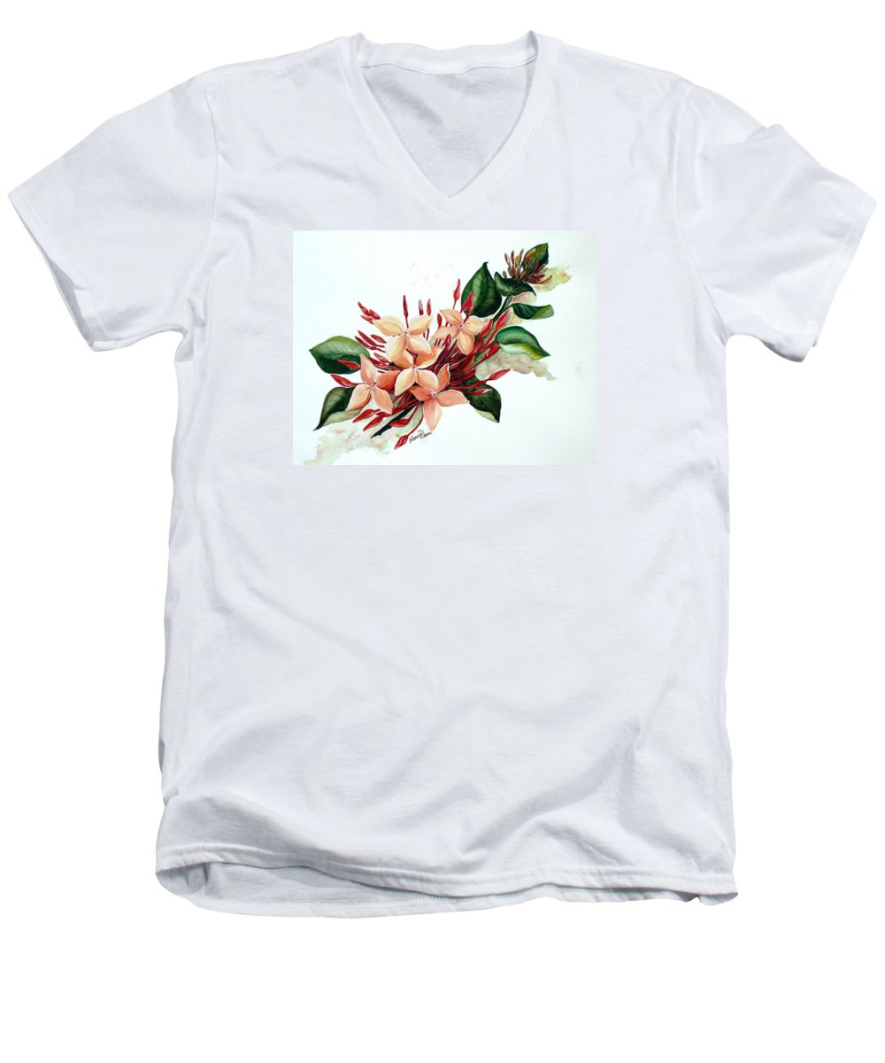 Floral Peach Flower Watercolor Ixora Botanical Bloom Men's V-Neck T-Shirt featuring the painting Peachy Ixora by Karin Dawn Kelshall- Best