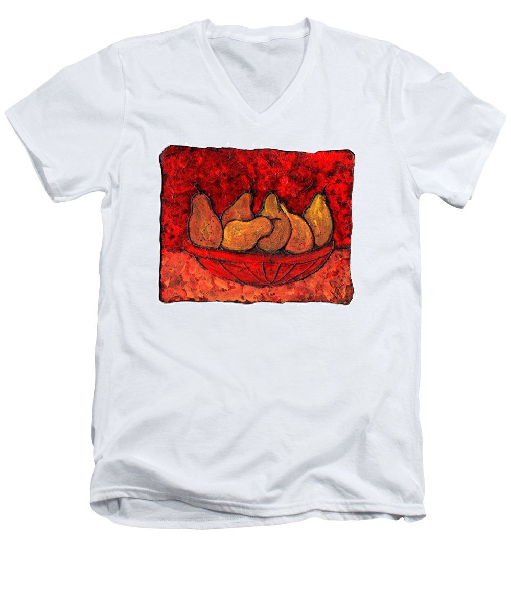 Food And Drink Men's V-Neck T-Shirt featuring the painting Pears On Fire by Wayne Potrafka