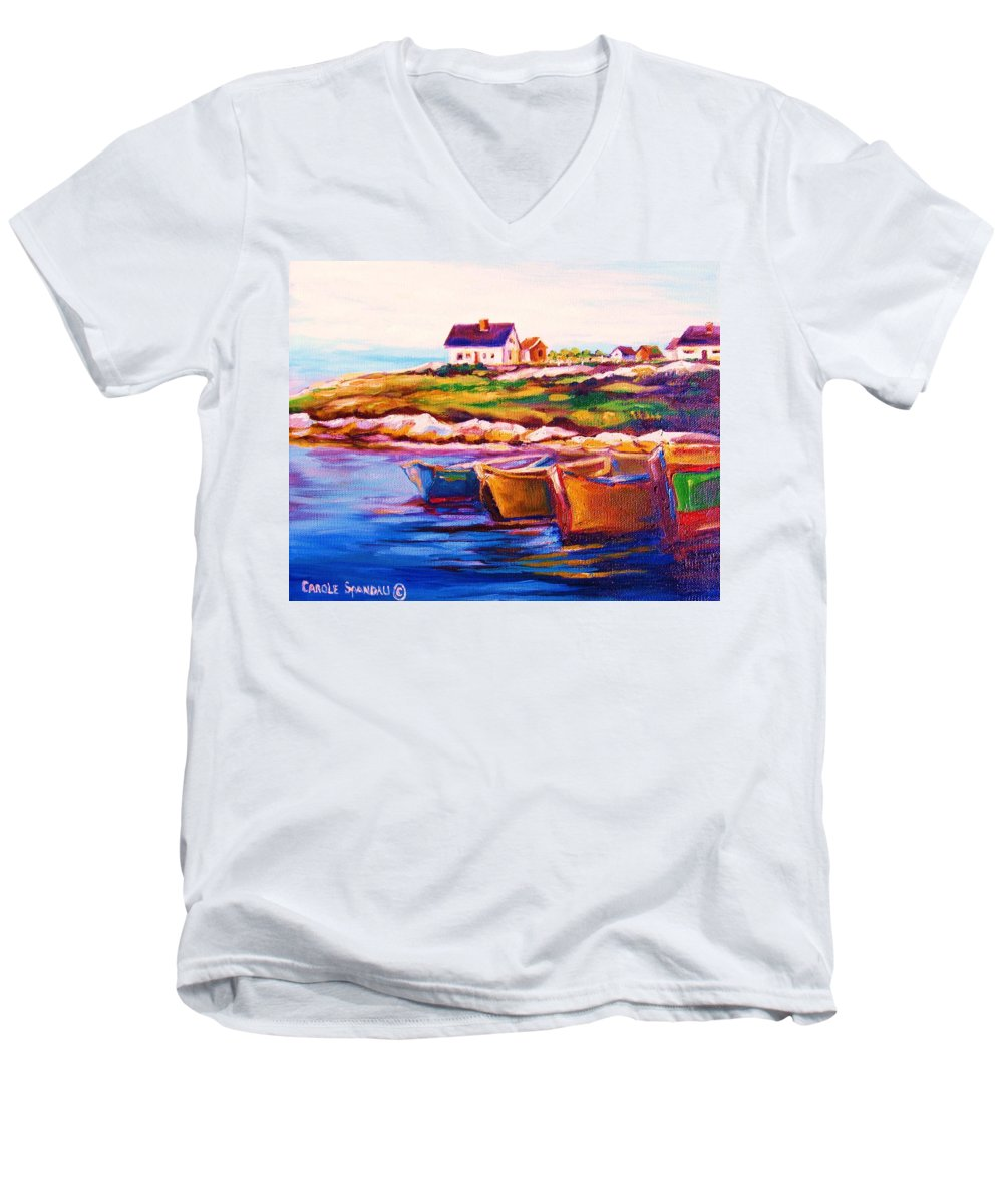 Row Boats Men's V-Neck T-Shirt featuring the painting Peggys Cove Four Row Boats by Carole Spandau