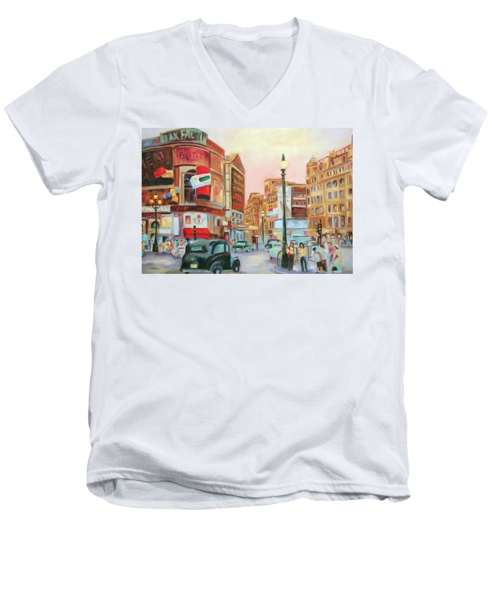 Cityscape Men's V-Neck T-Shirt featuring the painting Picadilly by Ginger Concepcion