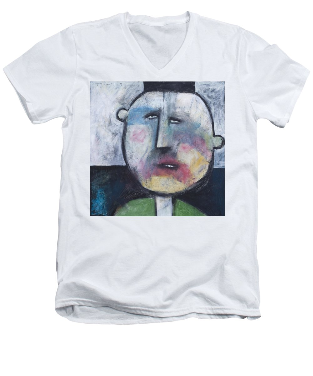 Funny Men's V-Neck T-Shirt featuring the painting Pillbox by Tim Nyberg