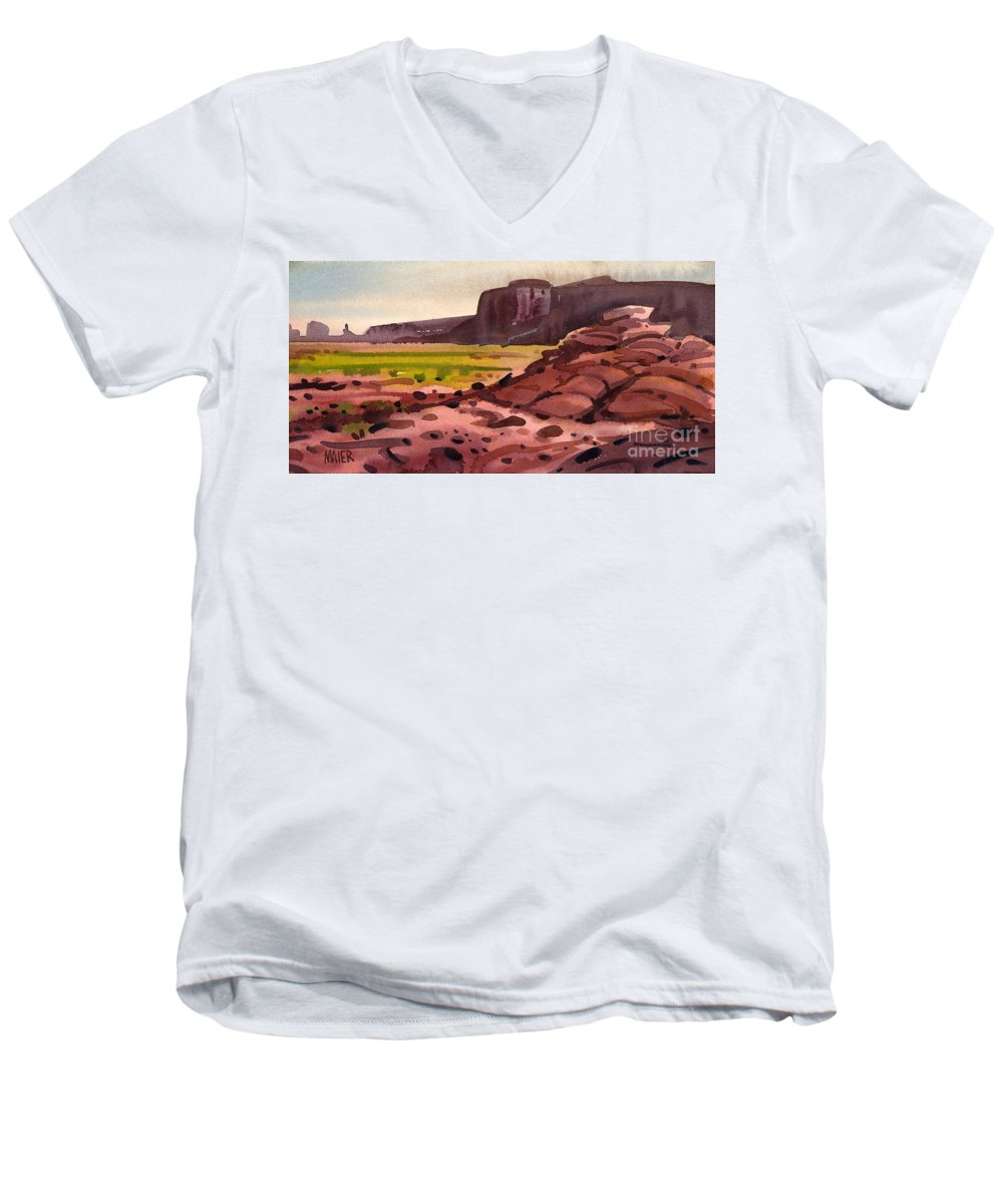 Monument Valley Men's V-Neck T-Shirt featuring the painting Pillow Rocks by Donald Maier