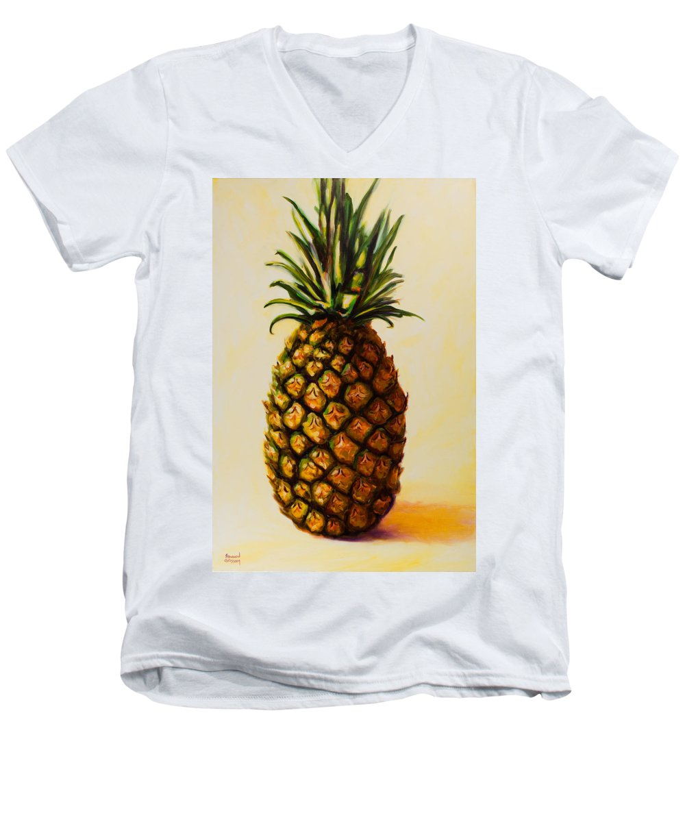 Pineapple Men's V-Neck T-Shirt featuring the painting Pineapple Angel by Shannon Grissom