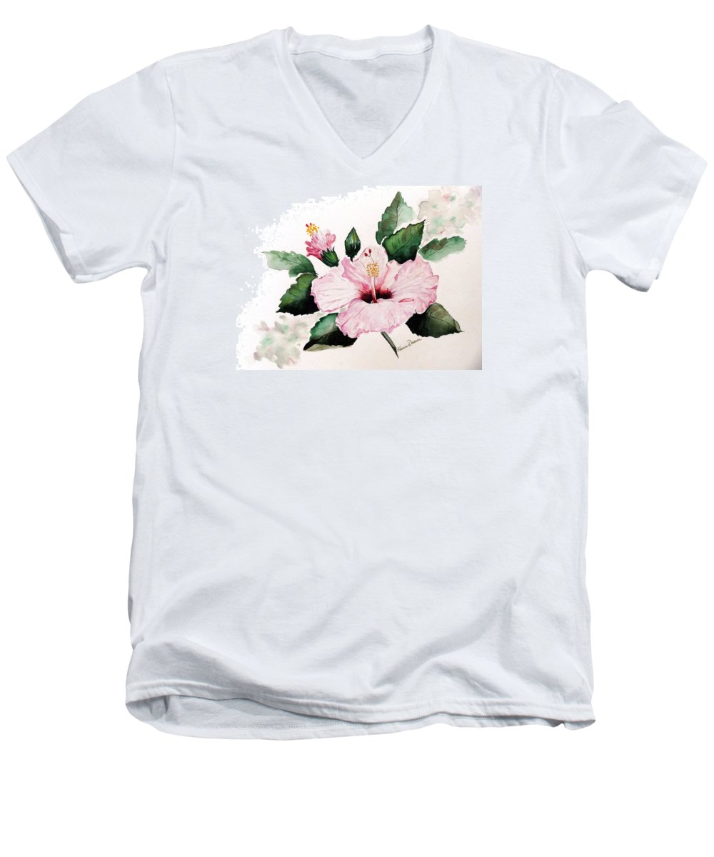 Hibiscus Painting  Floral Painting Flower Pink Hibiscus Tropical Bloom Caribbean Painting Men's V-Neck T-Shirt featuring the painting Pink Hibiscus by Karin Dawn Kelshall- Best