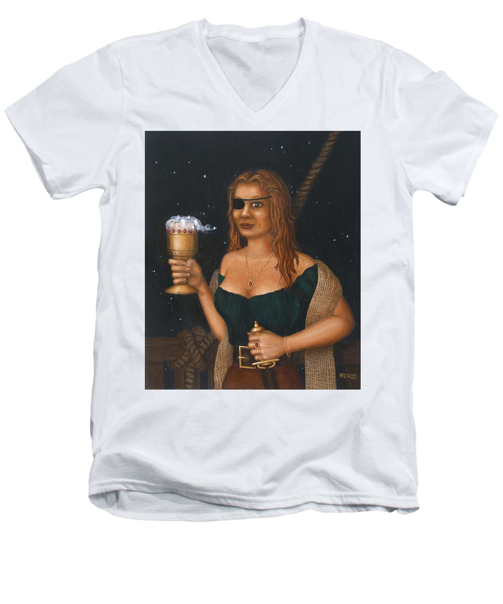 Fantasy Men's V-Neck T-Shirt featuring the painting Pirate Queen by Roz Eve