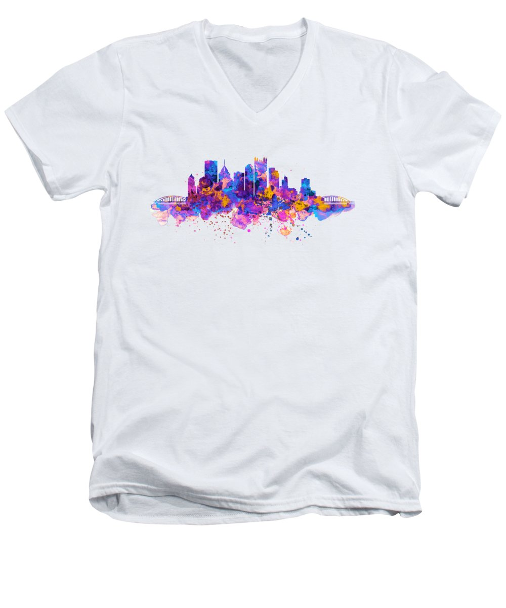 Pittsburgh Men's V-Neck T-Shirt featuring the mixed media Pittsburgh Skyline by Marian Voicu