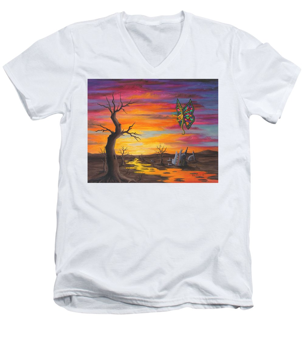 Fantasy Men's V-Neck T-Shirt featuring the painting Planet Px7 by Roz Eve