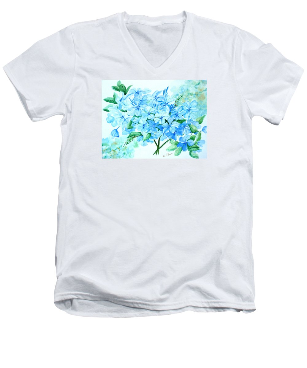 Floral Blue Painting Plumbago Painting Flower Painting Botanical Painting Bloom Blue Painting Men's V-Neck T-Shirt featuring the painting Plumbago by Karin Dawn Kelshall- Best