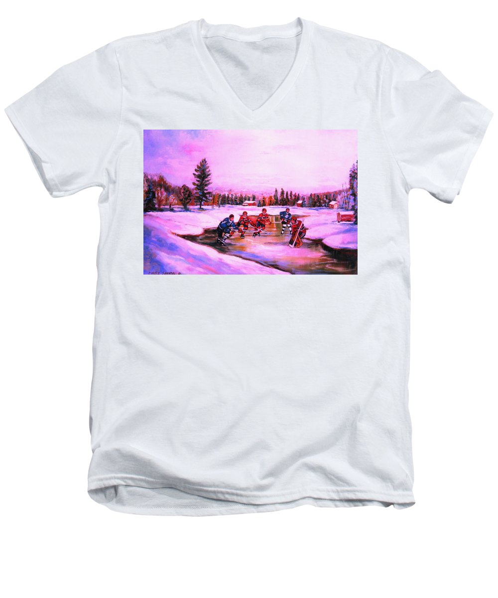 Hockey Men's V-Neck T-Shirt featuring the painting Pond Hockey Warm Skies by Carole Spandau