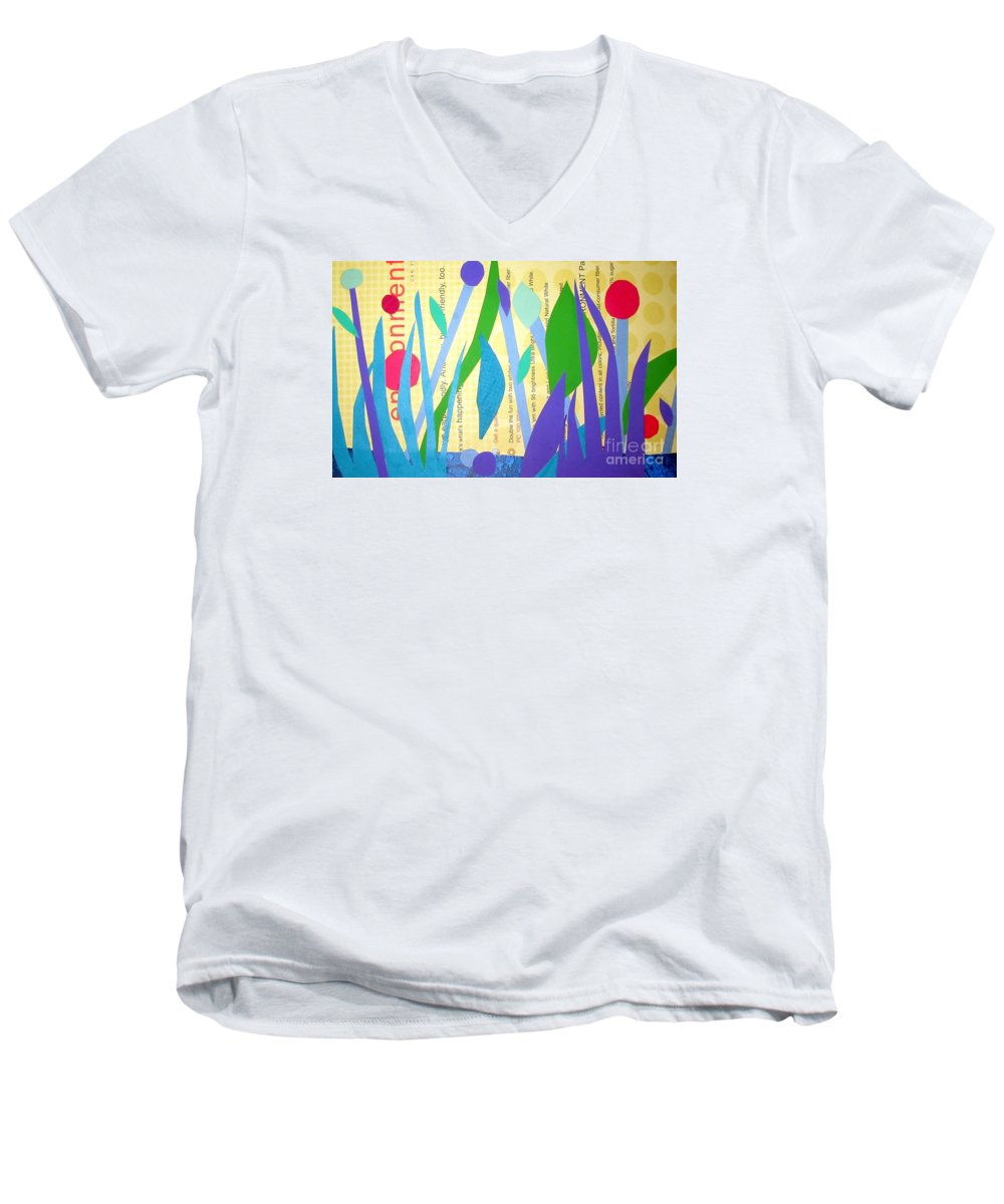 Landscape Men's V-Neck T-Shirt featuring the mixed media Pond Life by Debra Bretton Robinson