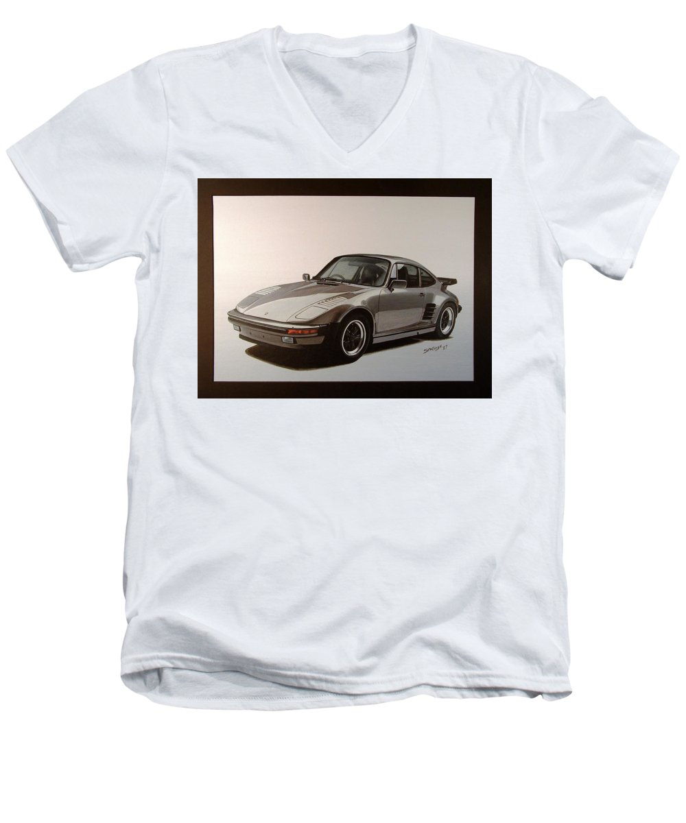 Car Men's V-Neck T-Shirt featuring the painting Porsche by Shawn Stallings