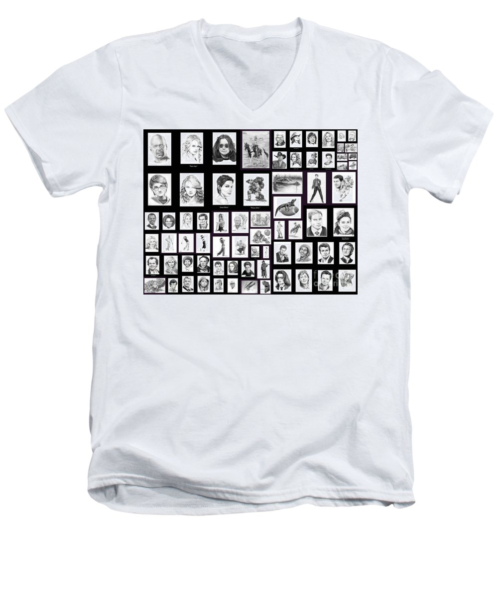 Portraits Men's V-Neck T-Shirt featuring the drawing Portrait And Illustrations On Fine Art America by Murphy Elliott