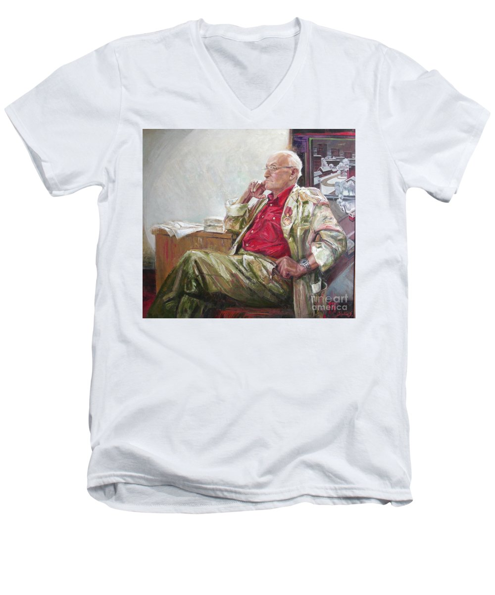 Oil Men's V-Neck T-Shirt featuring the painting Portrait Of May Dancig by Sergey Ignatenko