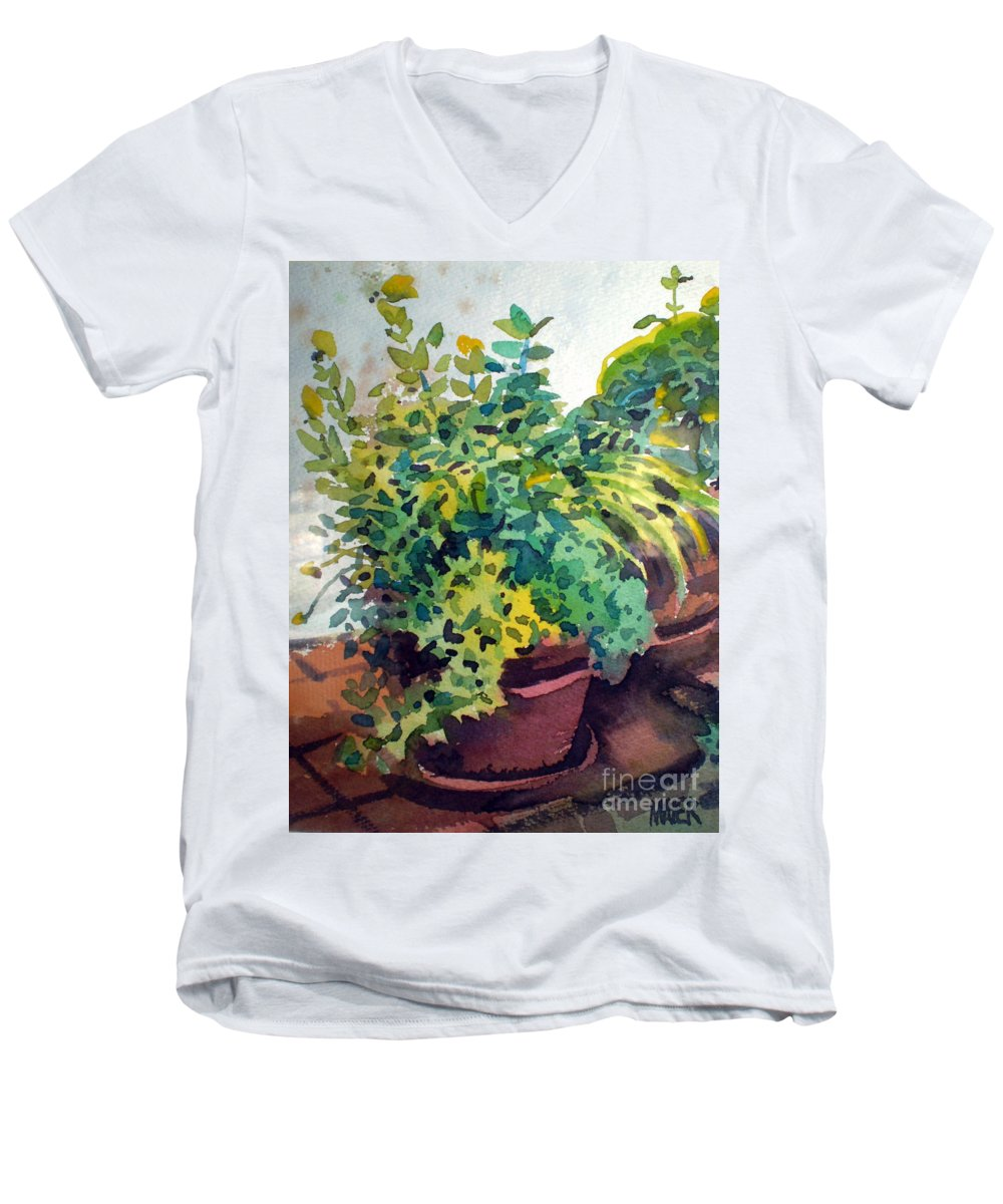 Herbs Men's V-Neck T-Shirt featuring the painting Potted Herbs by Donald Maier