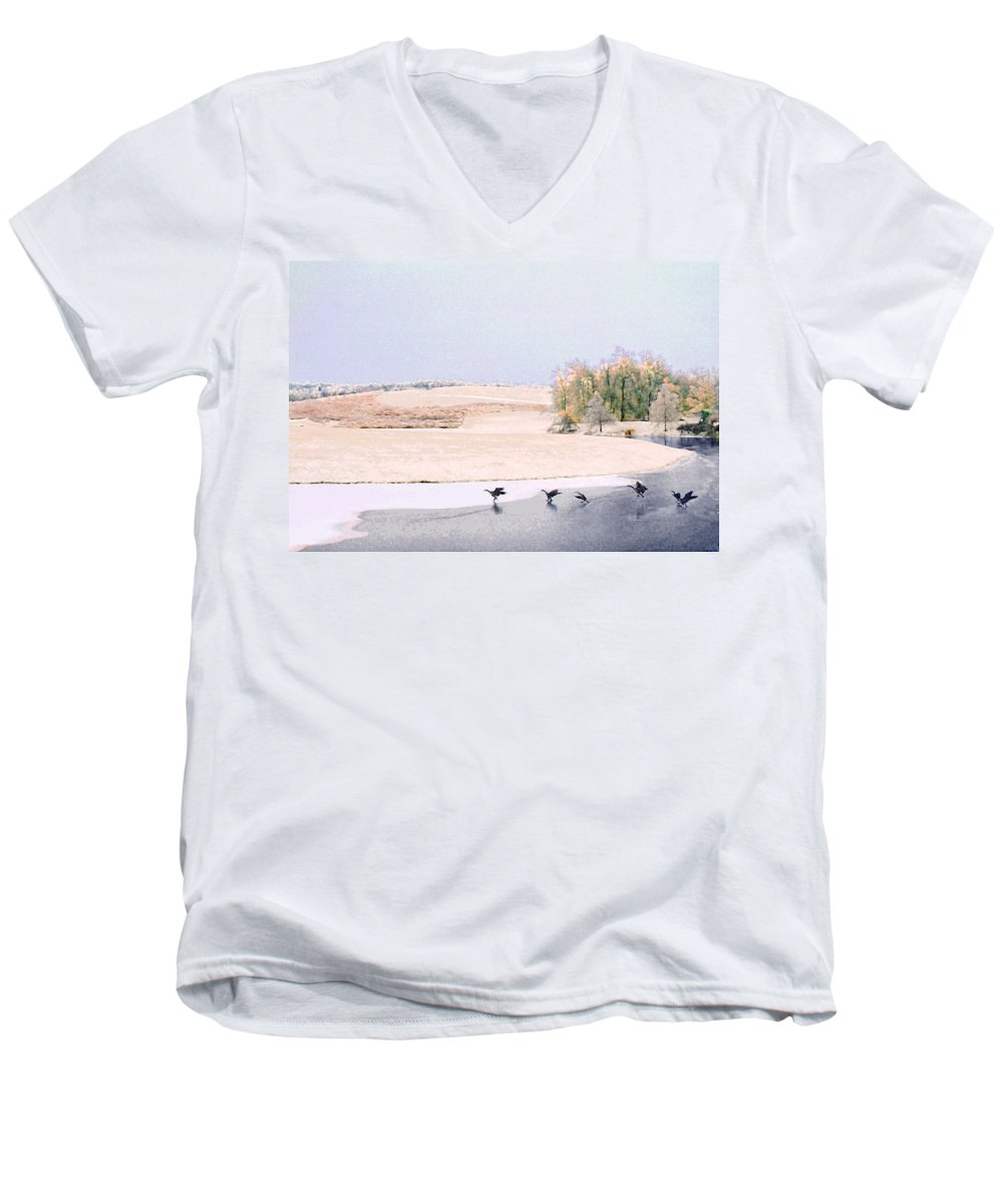 Landscape Men's V-Neck T-Shirt featuring the photograph Powell Gardens In Winter by Steve Karol