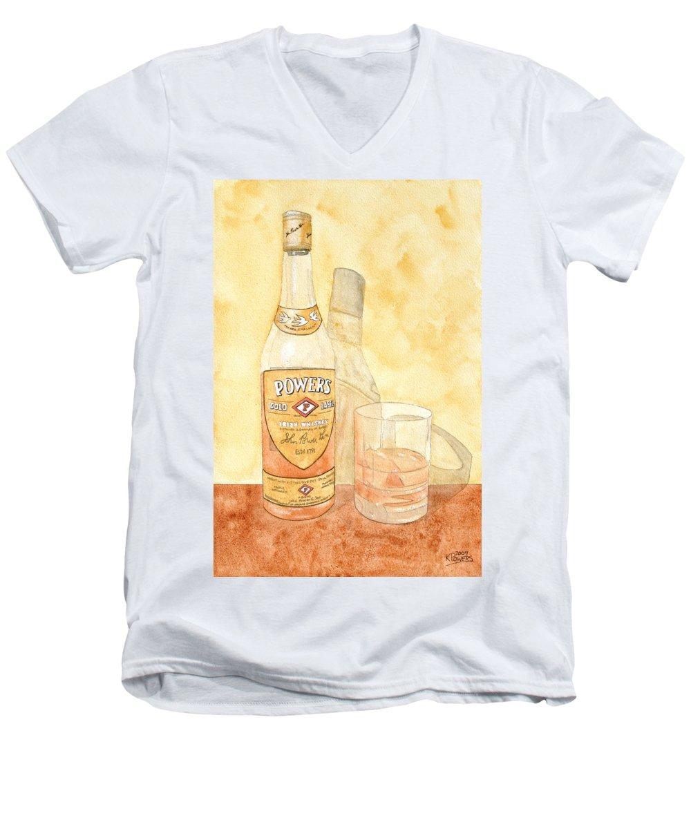 Irish Men's V-Neck T-Shirt featuring the painting Powers Irish Whiskey by Ken Powers