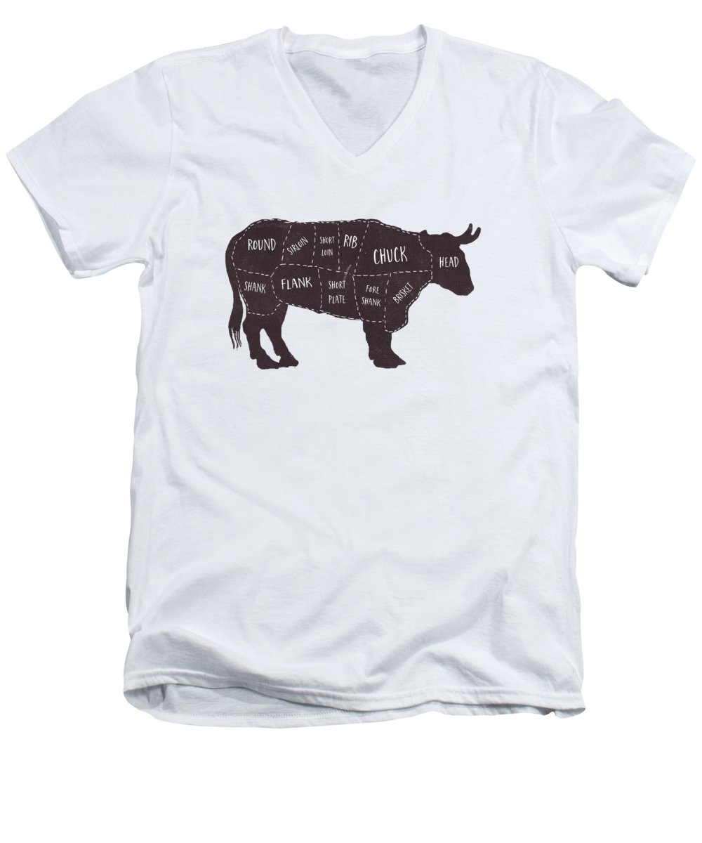 Beef Men's V-Neck T-Shirt featuring the photograph Primitive Butcher Shop Beef Cuts Chart T-shirt by Edward Fielding