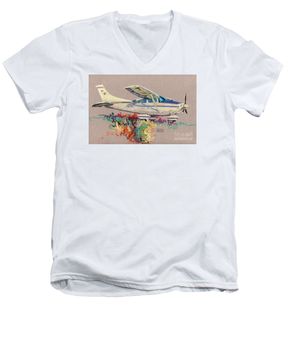 Small Plane Men's V-Neck T-Shirt featuring the drawing Private Plane by Donald Maier