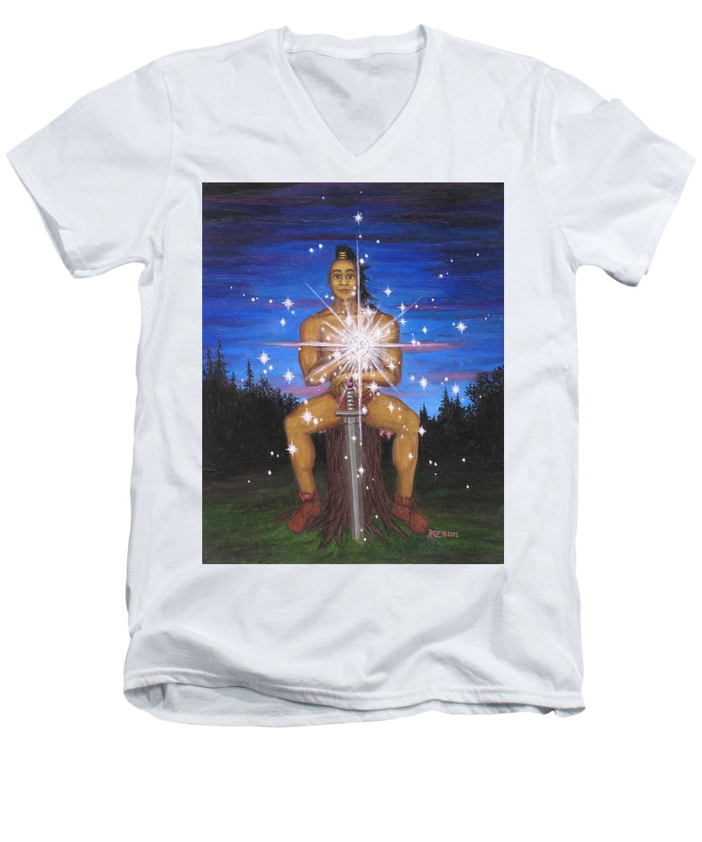 Fantasy Men's V-Neck T-Shirt featuring the painting Protector Of The Mystical Forest by Roz Eve