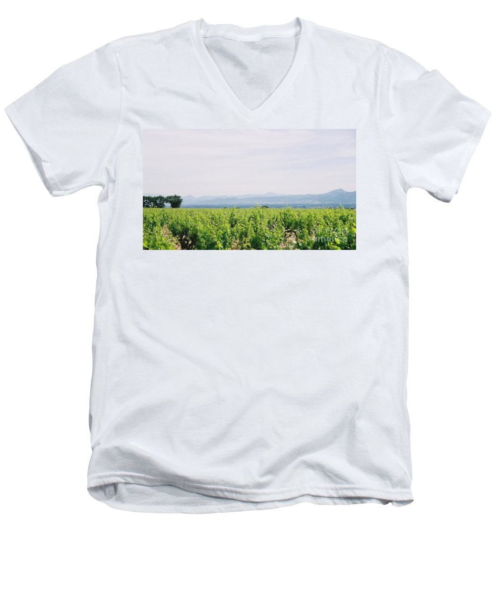 France Men's V-Neck T-Shirt featuring the photograph Provence Spring Vineyard by Nadine Rippelmeyer