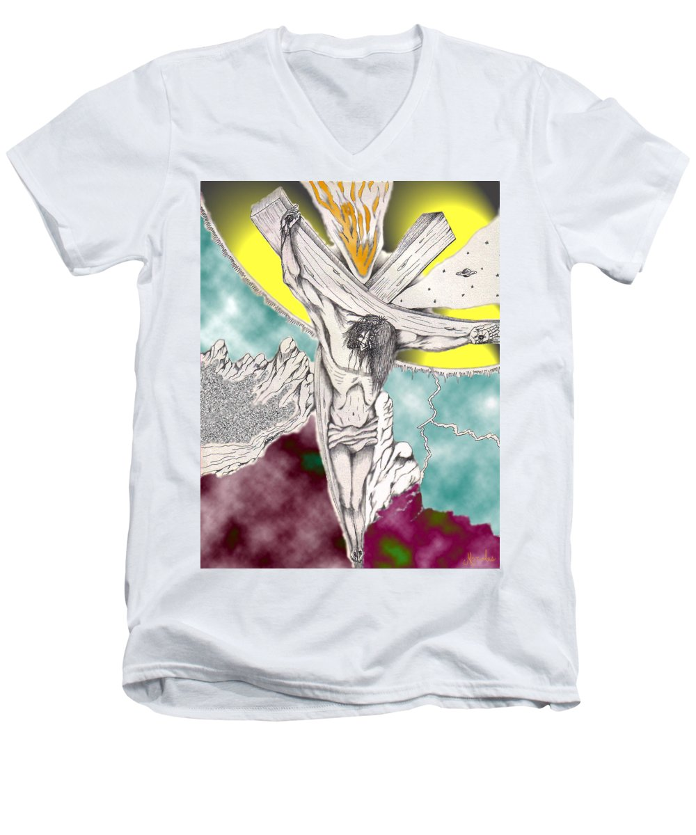 Spiritual Men's V-Neck T-Shirt featuring the digital art Psalm 22 Ch 13-15... by Marco Morales