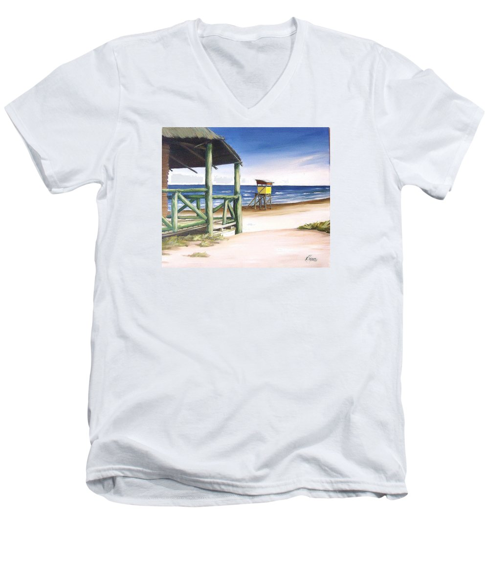 Seascape Beach Landscape Water Ocean Men's V-Neck T-Shirt featuring the painting Punta Del Diablo S Morning by Natalia Tejera