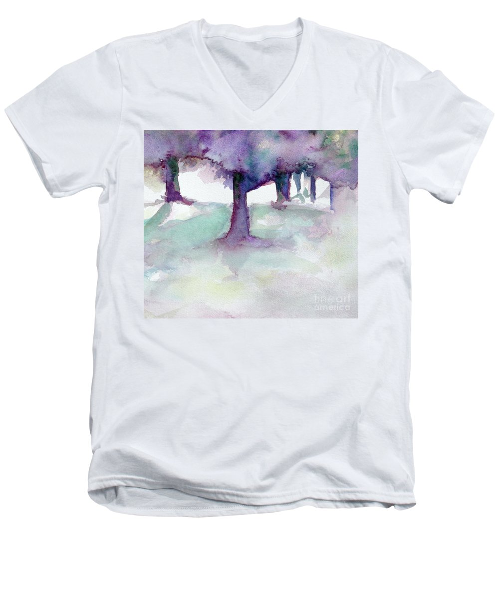 Landscape Men's V-Neck T-Shirt featuring the painting Purplescape II by Jan Bennicoff
