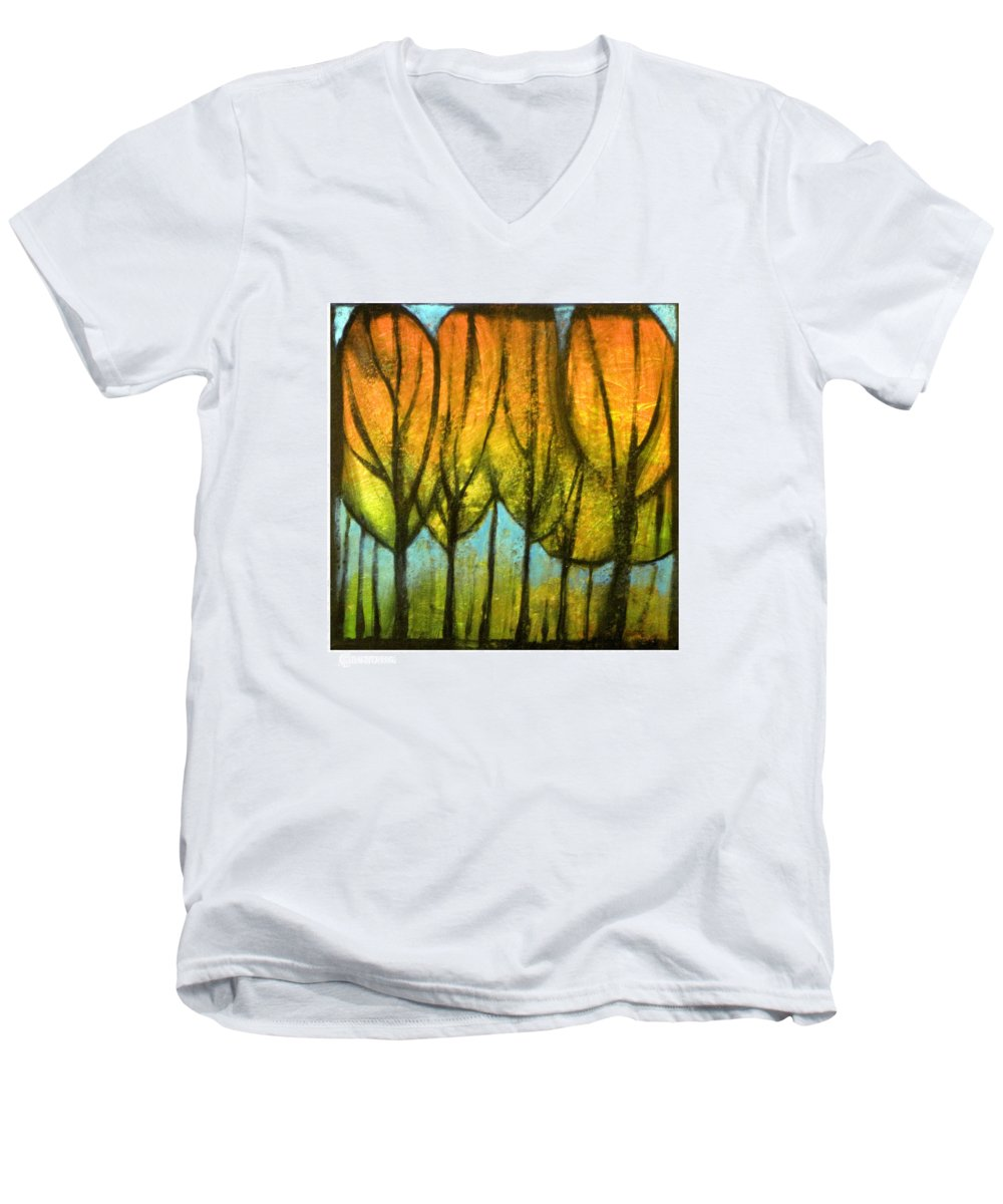 Trees Men's V-Neck T-Shirt featuring the painting Quiet Blaze by Tim Nyberg