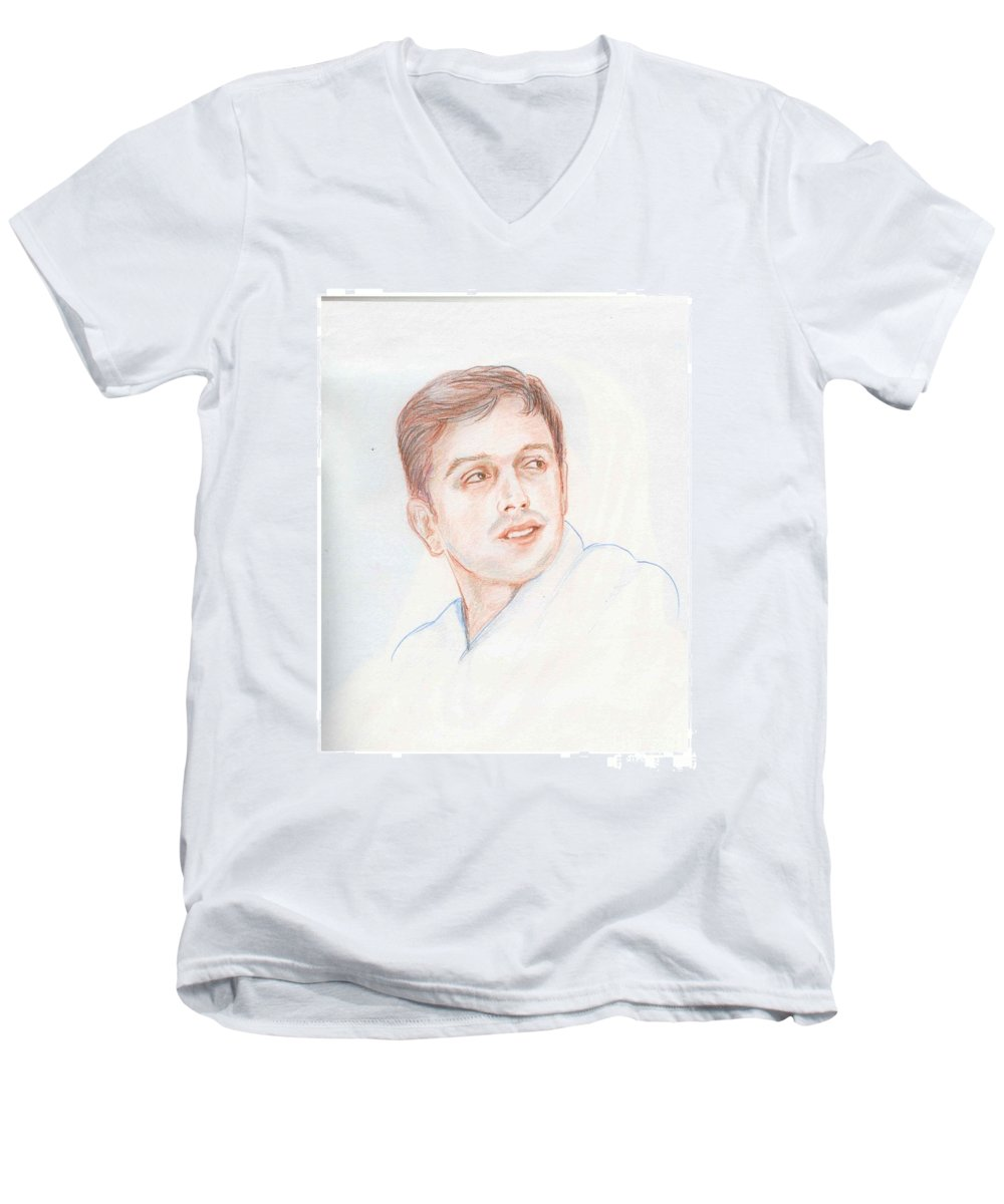 Cricketer Men's V-Neck T-Shirt featuring the drawing Rahul Dravid Indian Cricketer by Asha Sudhaker Shenoy