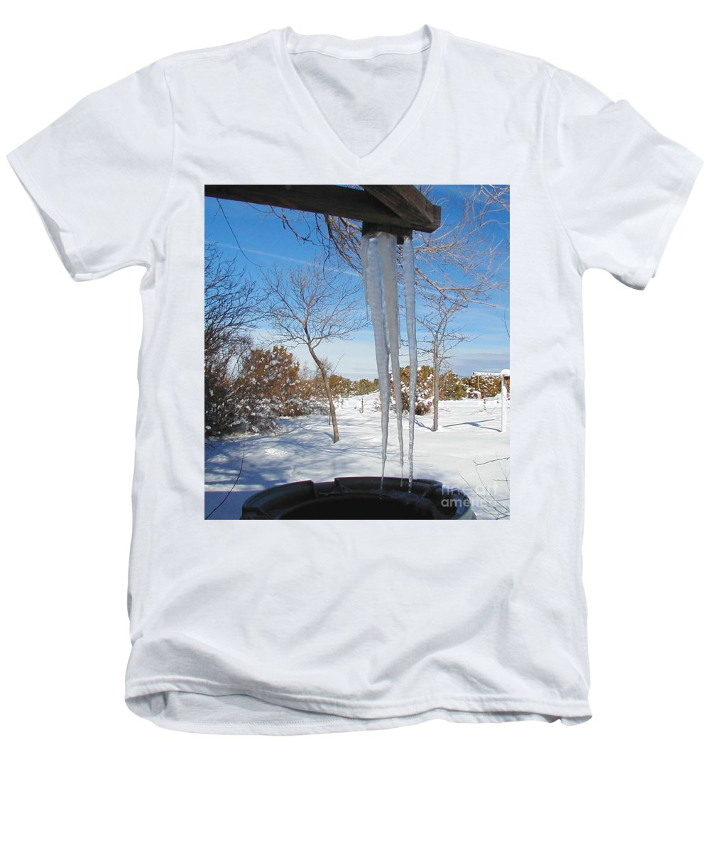 Icicle Men's V-Neck T-Shirt featuring the photograph Rain Barrel Icicle by Diana Dearen