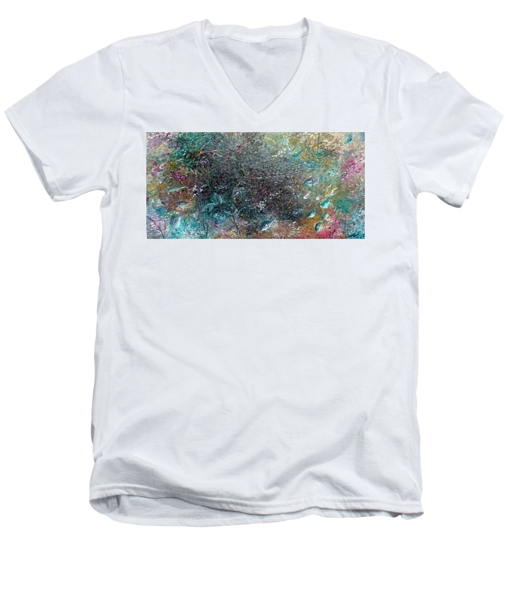 Original Abstract Painting Of Under The Sea Men's V-Neck T-Shirt featuring the painting Rainbow Reef by Karin Dawn Kelshall- Best