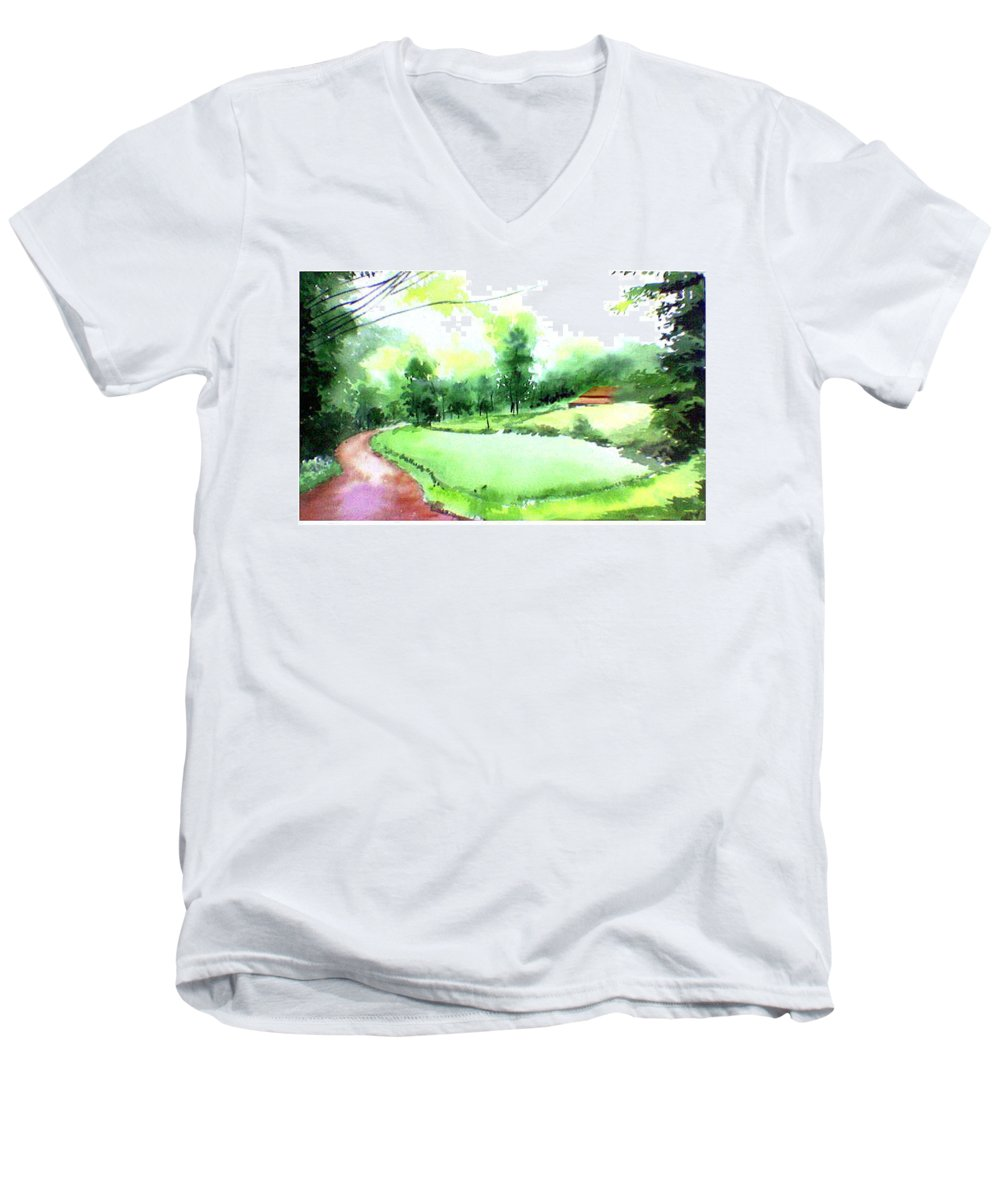 Landscape Men's V-Neck T-Shirt featuring the painting Rains In West by Anil Nene