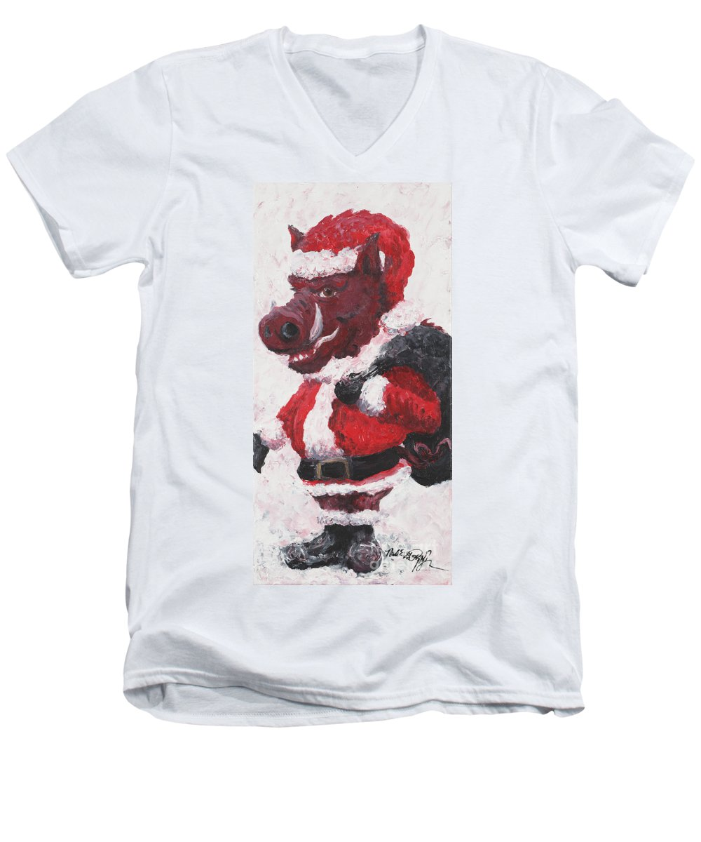 Santa Men's V-Neck T-Shirt featuring the painting Razorback Santa by Nadine Rippelmeyer