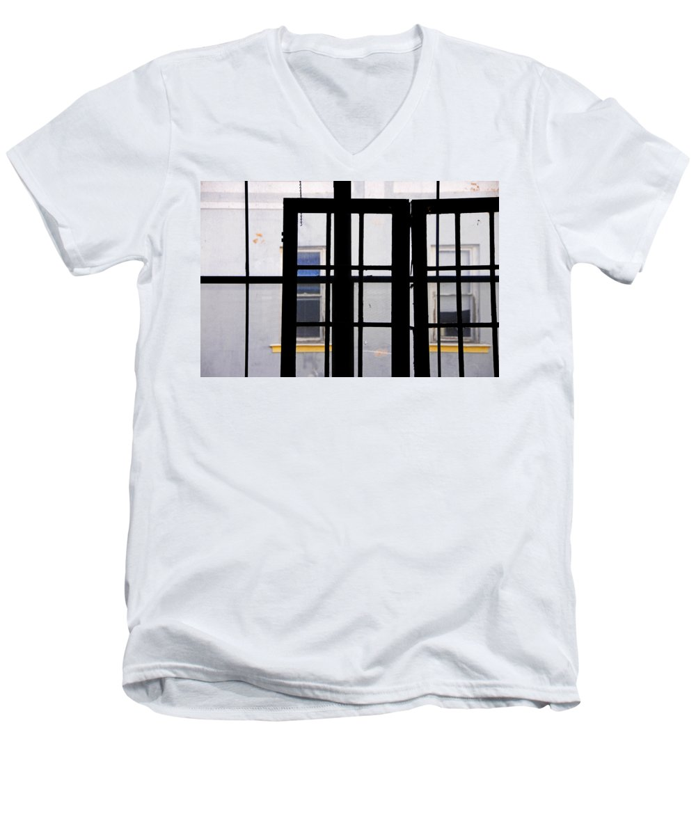 Skip Hunt Men's V-Neck T-Shirt featuring the photograph Rear Window 1 by Skip Hunt